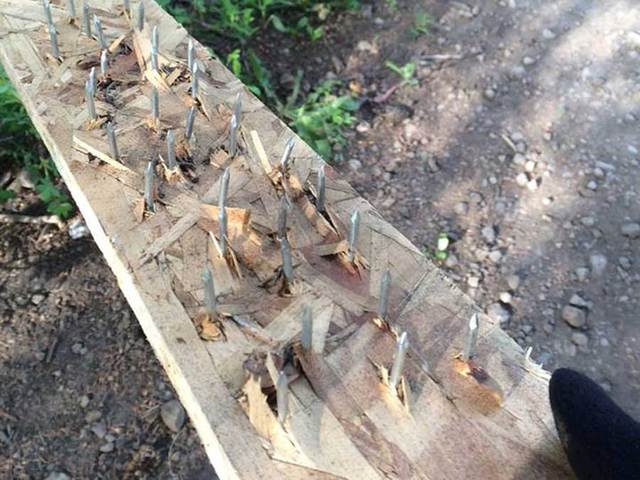 Other riders have reported encountering boards of nails on the paths, which are designed to flatten the tires of anyone who runs over them.