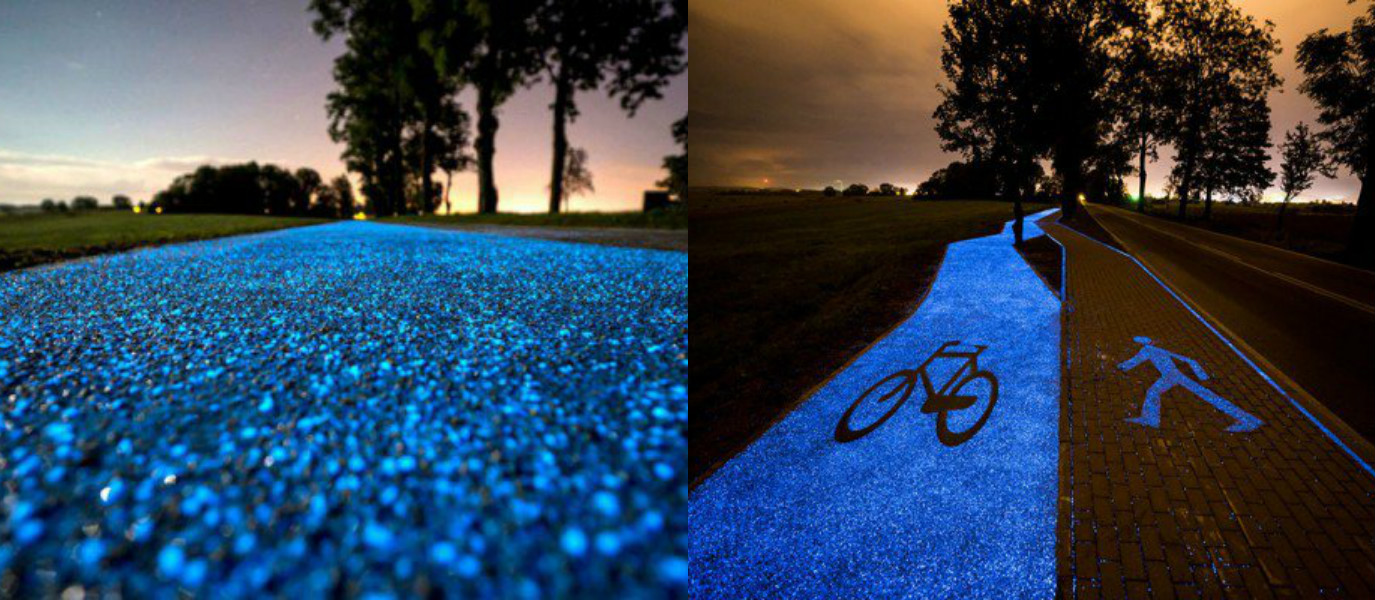 Beautiful Glow-in-the-Dark Bicycle Paths Are the Future