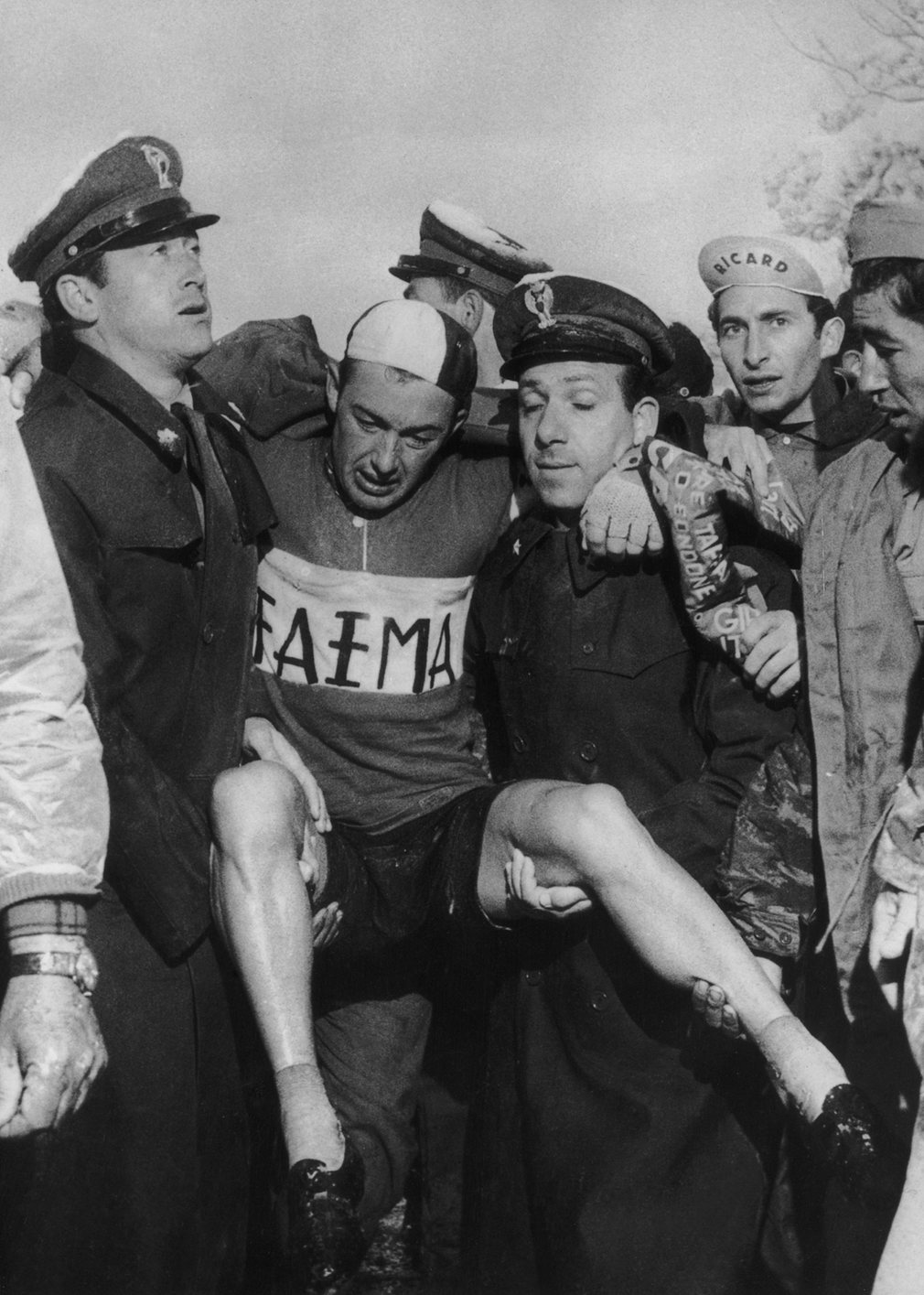 Charly Gaul collapsed after winning the Dolomites stage in 1956. Rain, wind and heavy snow forced half of the riders to abandon the stage. Gaul eventually went on to win the whole Tour.