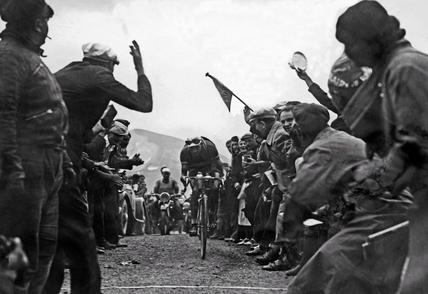 "1937: Gino ""the Pious"" Bartali on the Galibier pass. He went on to win the Tour in 1938, but is best known for helping partisans in Nazi-occupied Italy and ultimately saving the lives of 800 Jews."