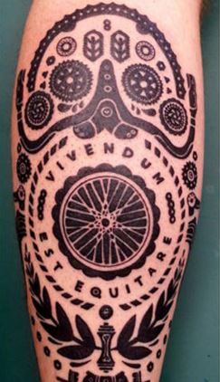 "Check out the detail on this one. The inscription translates as ""To live is to ride."""