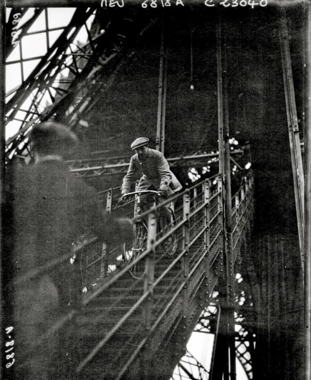Cycling down the Eiffel Tower (1)