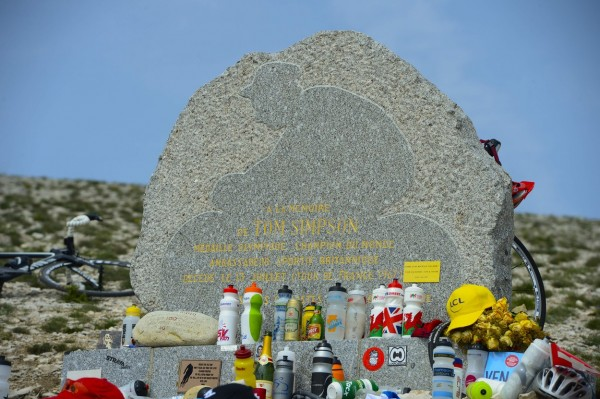 Tom Simpson memorial statue on the Mont Ventoux during the fifteenth stage of the 100th edition of the Tour de France