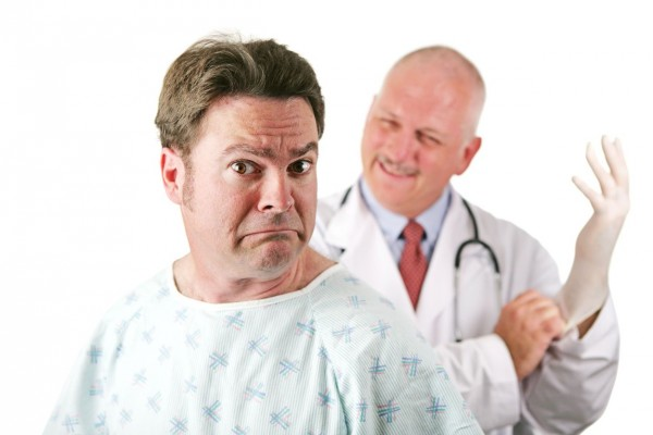 Patient about to be examined