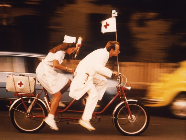 Doctor and a nurse on a tandem