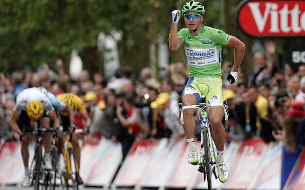 """Here is Sagan celebrating with a """"running man"""" at the third stage of the Tour de France in 2012."""