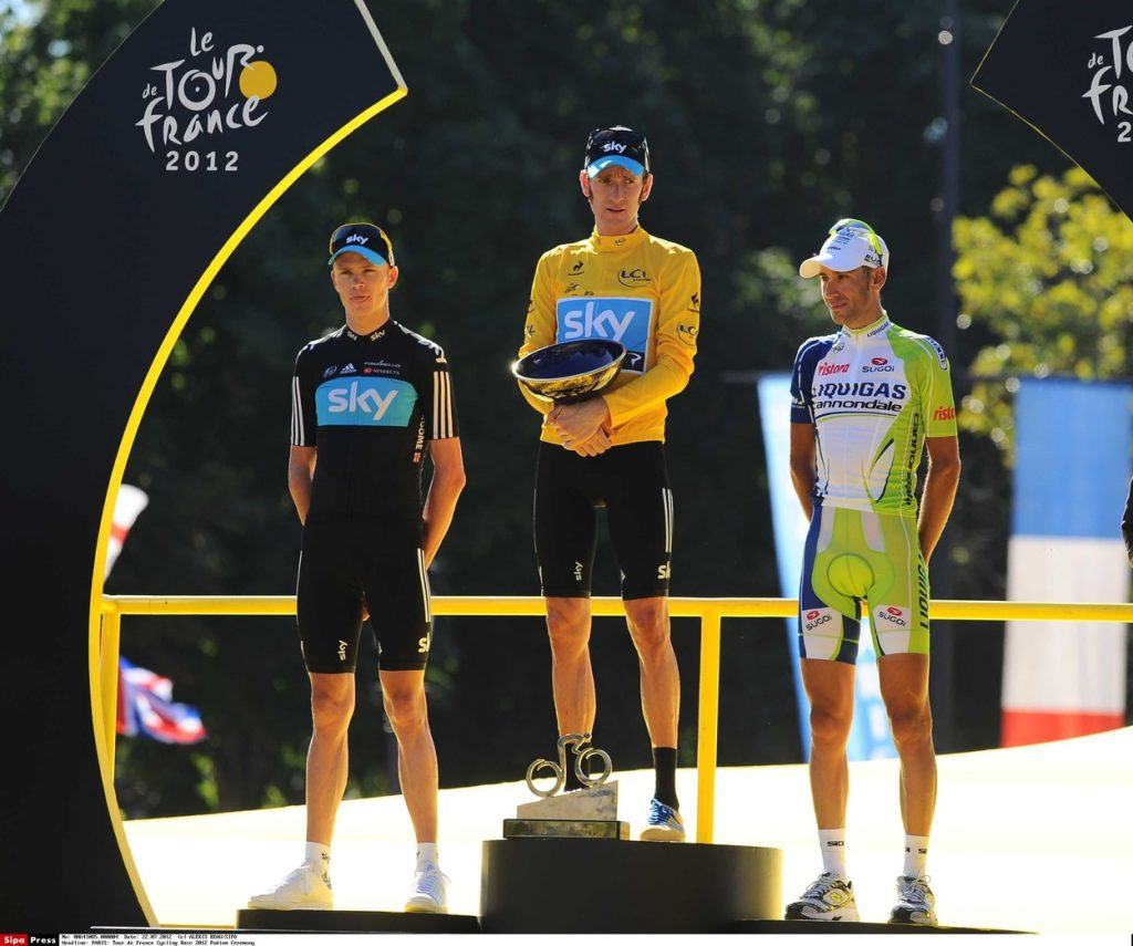 Second place Christopher Froome of Britain, left, Tour de France winner Bradley Wiggins of Britain, center, and third place Vincenzo Nibali of Italy, right, as Lesley Garrett sings the British national anthem on the podium of the Tour de France cycling race in Paris, France, Sunday July 22, 2012. /REAU_tdfpodium.04/1207222057/Credit:ALEXIS REAU/SIPA/1207222101, Image: 233730344, License: Rights-managed, Restrictions: , Model Release: no, Credit line: Profimedia, TEMP Sipa Press