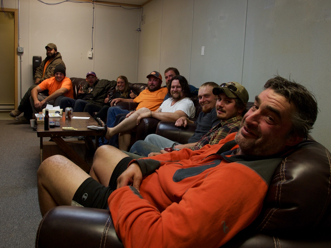 The workers from Tennessee in the chill out room of the camp *