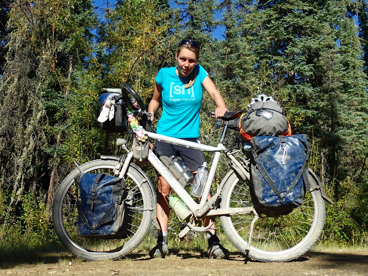 My bike and me after the 800km ride to Deadhorse, 17 hours in a truck and 38 hours without sleep