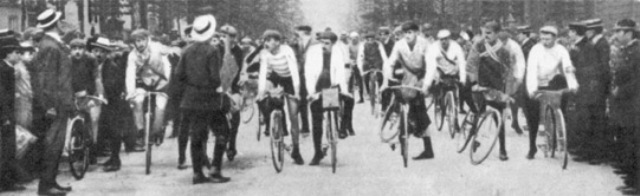 The riders getting ready to start. First ever stage of Tour de France.