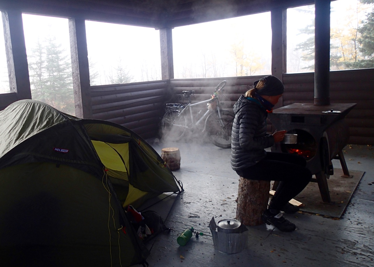 ..on a closed down campsite under a shelter