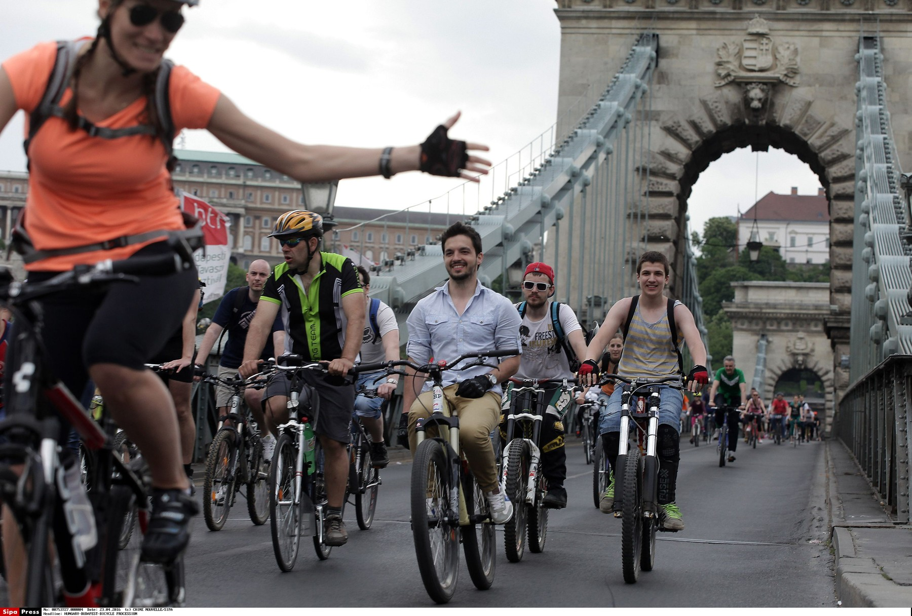 Bicycle riders attend a large-scale bicycle procession called I Like Budapest organized by Hungarian Cyclists' Club in Budapest, Hungary, April 23, 2016.