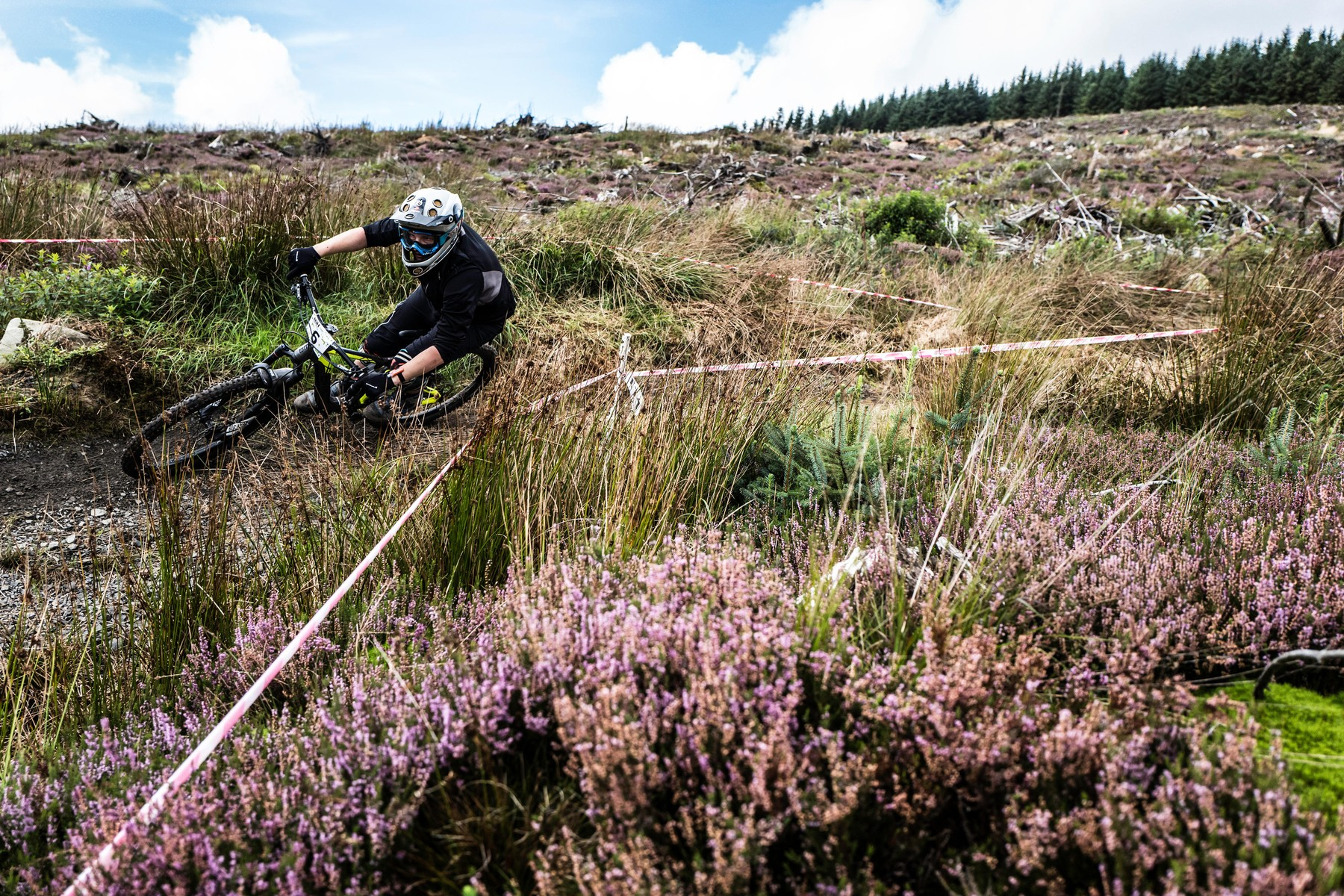 Kielder Forest, Kielder, Northumberland, UK. 11th September 2016. Mountain bikers compete in the Northern Downhill time trial event in Kielder Forest., Image: 299883673, License: Rights-managed, Restrictions: , Model Release: no, Credit line: Profimedia, Alamy