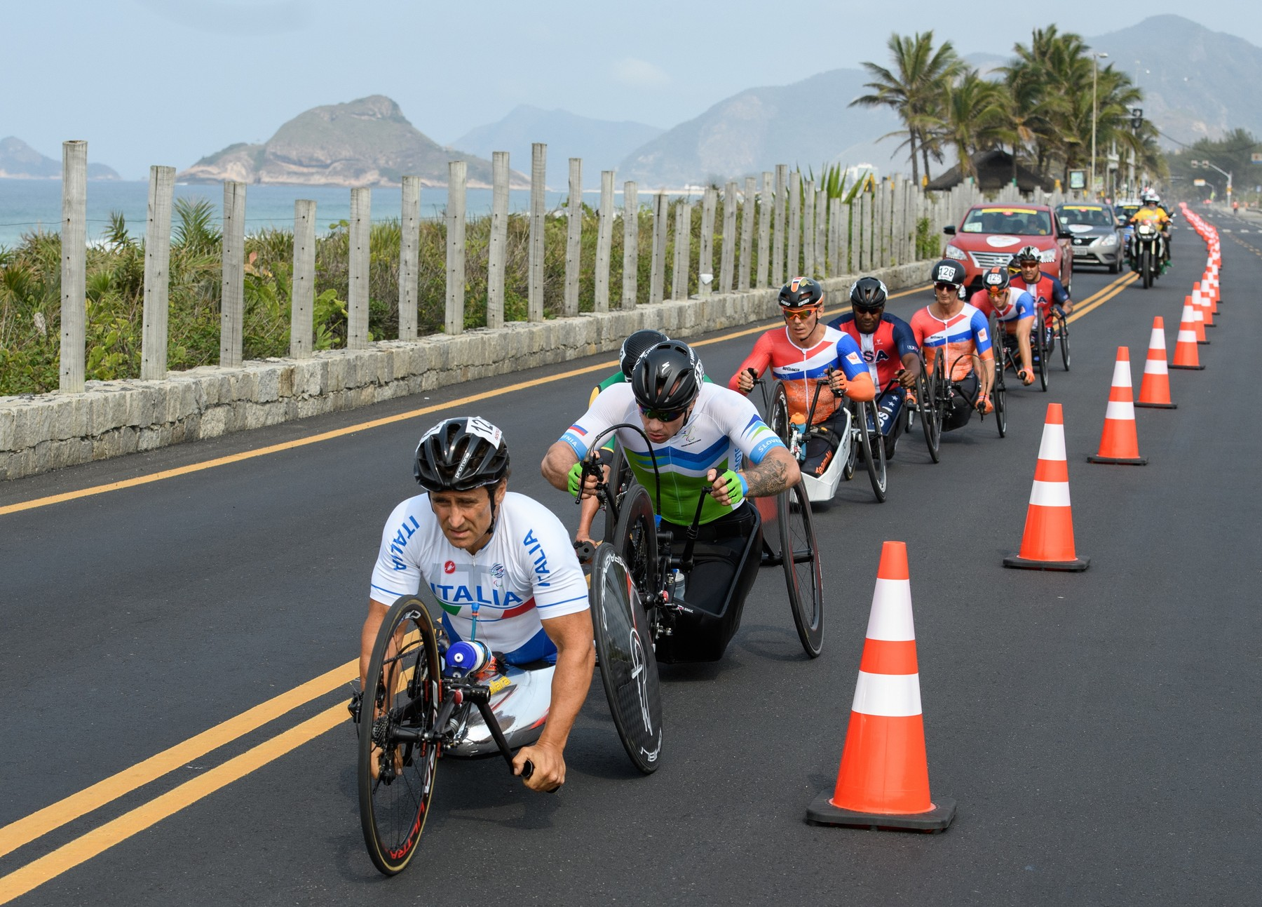 Sep 15, 2016 - Rio de Janeiro, Brazil - Alessandro Zanardi ITA (left) competes in the Men's Cycling Road Race H5 at Pontal. The Paralympic Games, Rio de Janeiro, Brazil, Thursday 15th September 2016. ., Image: 301670311, License: Rights-managed, Restrictions: , Model Release: no, Credit line: Profimedia, Zuma Press - News