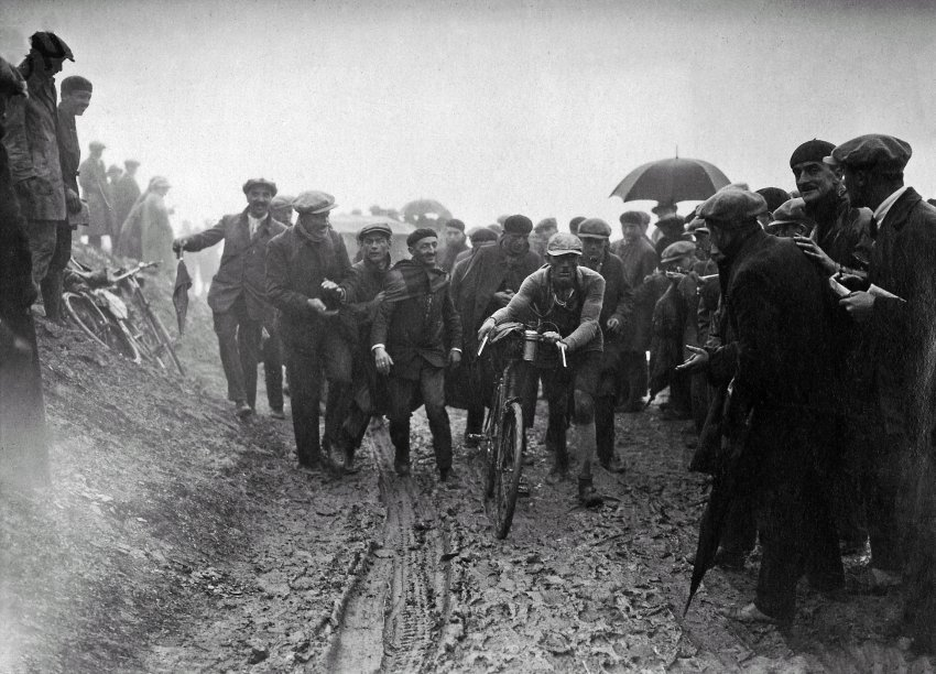 1926: The epic battle started at 2 AM. Riders went out in a downpour and even had to dismount on Tourmalet because of all the mud. By 10 PM, only 30 riders had crossed the finish line, and 15 were still missing the next morning.
