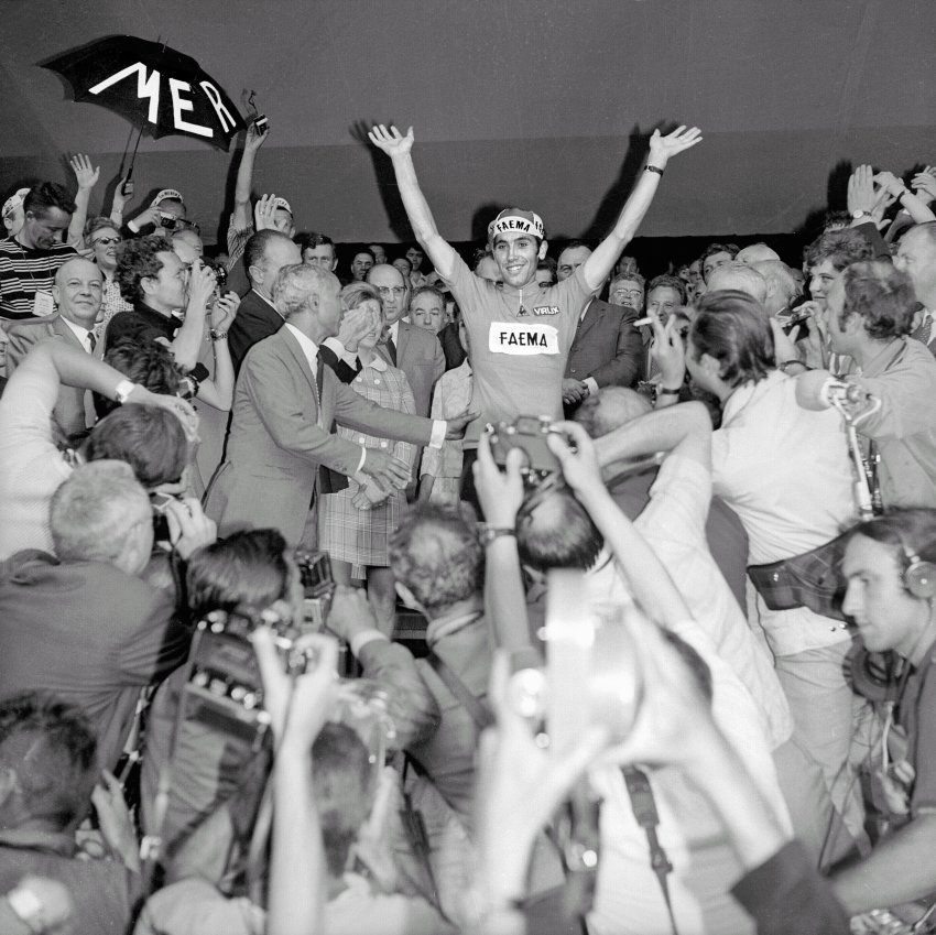 1969:The beginning of the Cannibal's reign. Eddie Merckx won the Tour five times between 1969 and 1974 and is considered to be the best cyclist ever.