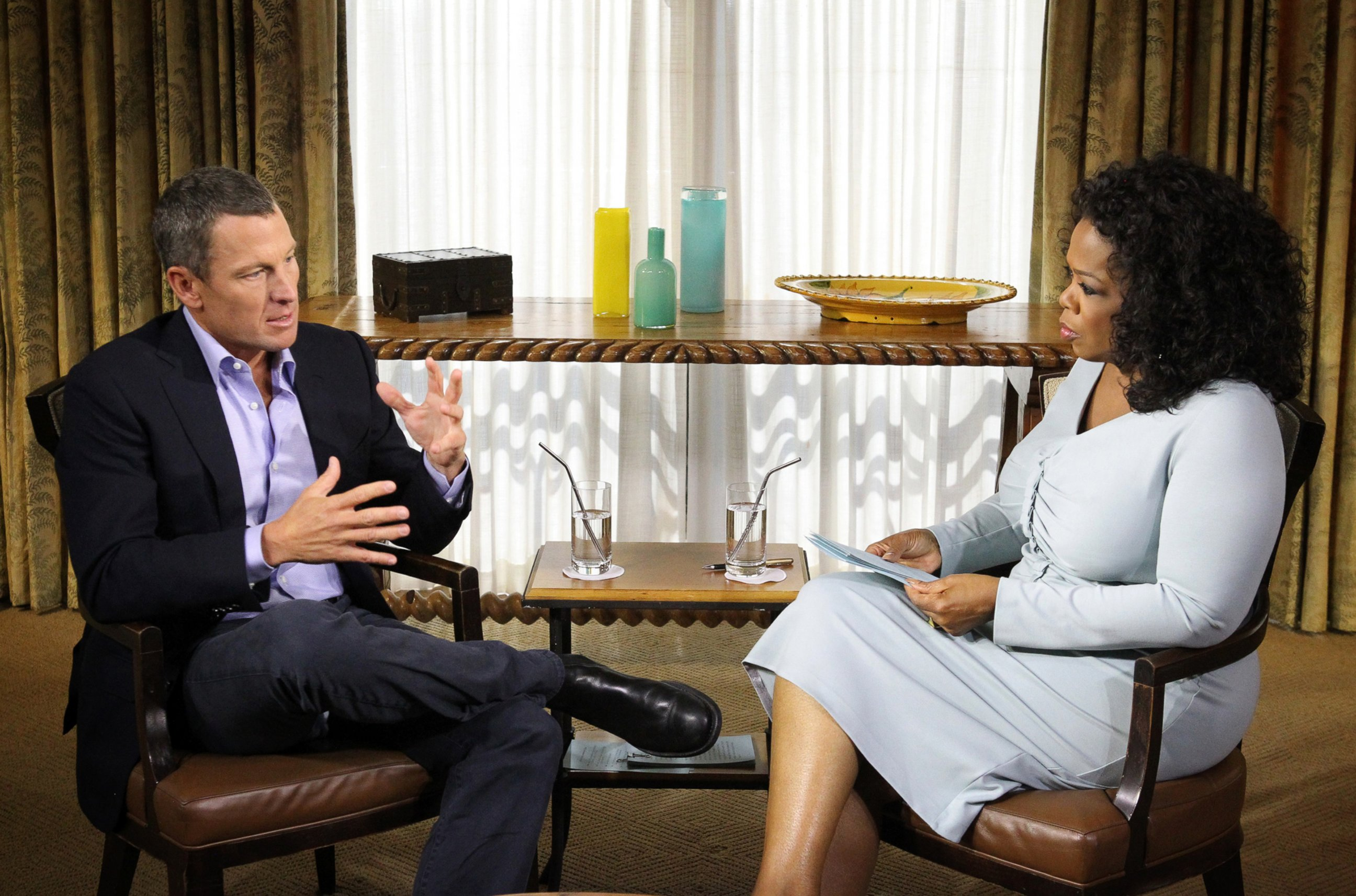 2013:Lance Armstrong was stripped off all of his Tour de France victories. Seven titles were gone because of doping. Here you can see him during an infamous interview with Oprah Winfrey.