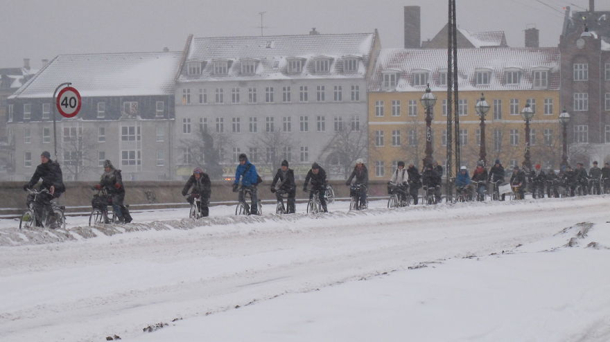The world's busiest bicycle street – Nørrebrogade in the morning rush hour. Temperature -20 C, outsch.