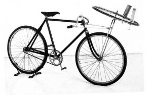 A Wright St. Clair bicycle. The horizontal wheel is part of an aeronautical experiment from 1901.